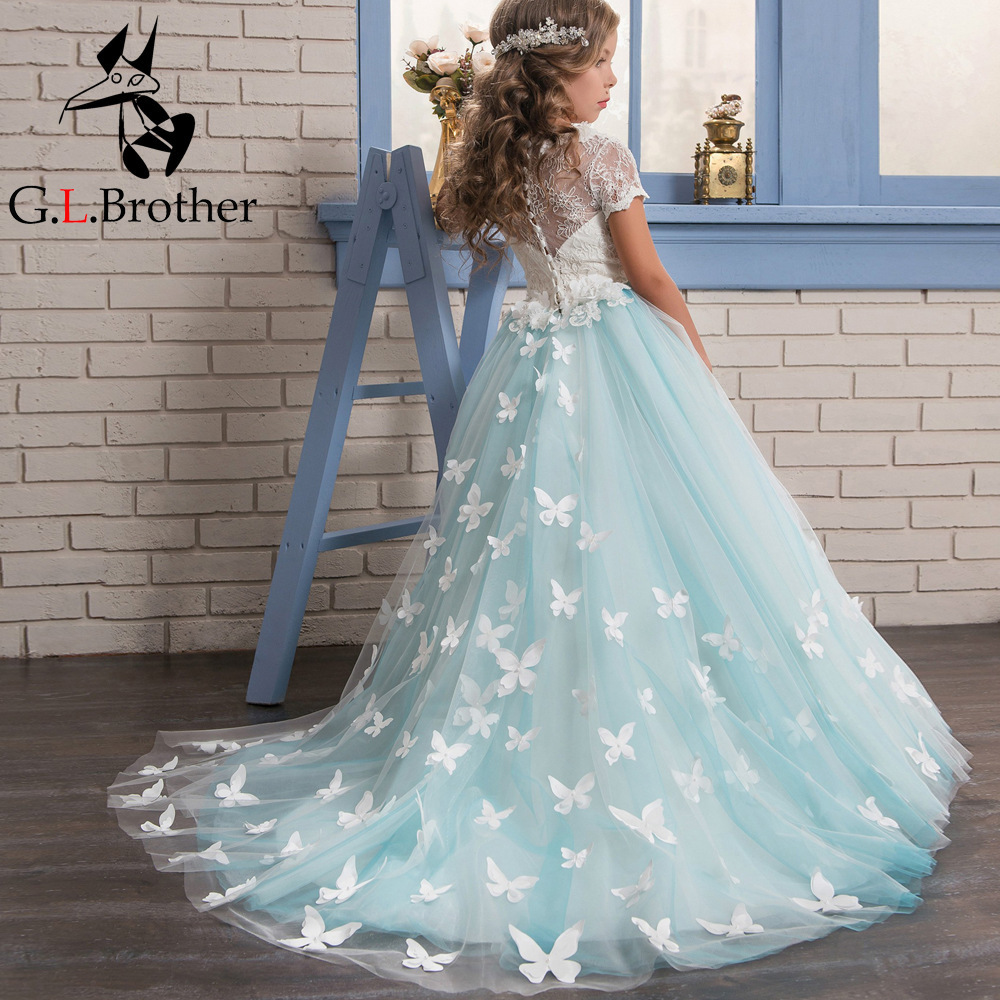 цены Royal Princess Prom Dress Butterfly Holy Communion Dress Birthday Party Gowns Small Trailing Flower Girl Dresses For Wedding