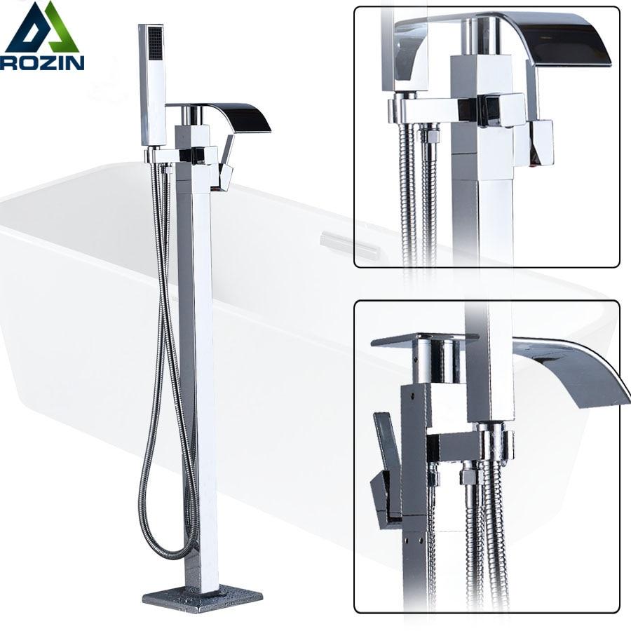 Free Standing Bathtub Floor Mounted Faucet Tap Set Plastic Hand Shower Waterfall Bath Spout Bath Tub