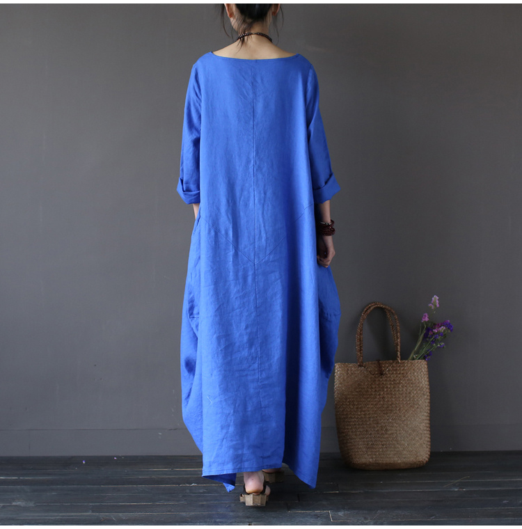 4147597e2e7ed 2018 Summer Plus Size Dresses For Women 3xl 4xl 5xl Loose Cotton Linen Dress  White Boho Shirt Dress Long Sleeve Long Maxi Robe free shipping worldwide