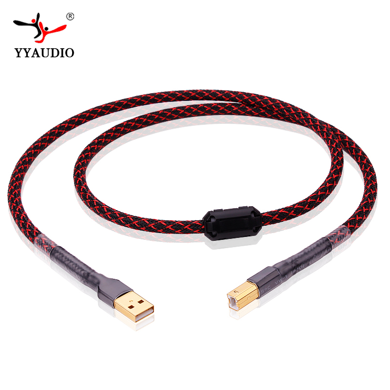 YYAUDIO L-4E6S Hifi USB Cable High Quality Type A to Type B Hifi Data Cable For DAC цена