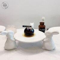 أطباق صينية من البورسلين لأدوات المائدة الخزفية أطباق مزخرفة للعشاء أطقم أطباق كعك من الرخام على شكل أرنب وأطباق فخار|أطباق وصحون|   -