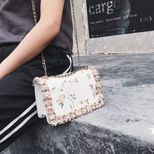 Lace Flowers Women bag 2019 New handbag High quality PU Leather Sweet Girl Square bag Flower Pearl Chain Shoulder Messenger Bag(China)