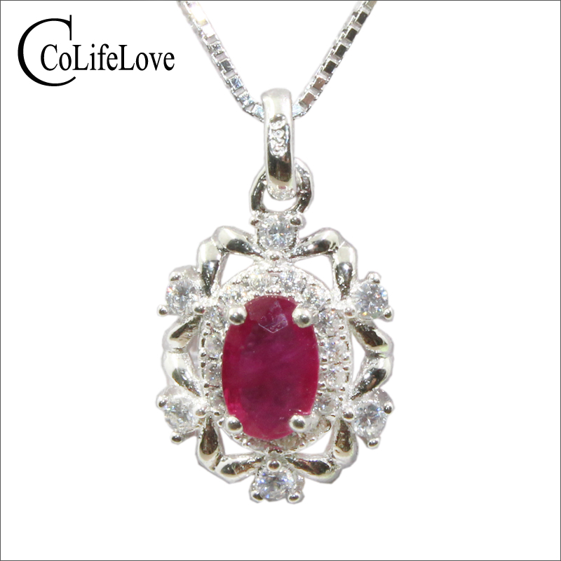 купить Natural blood red ruby pendant for office woman 4 mm * 6 mm ruby silver pendant solid 925 sterling silver ruby necklace pendant по цене 3883.54 рублей