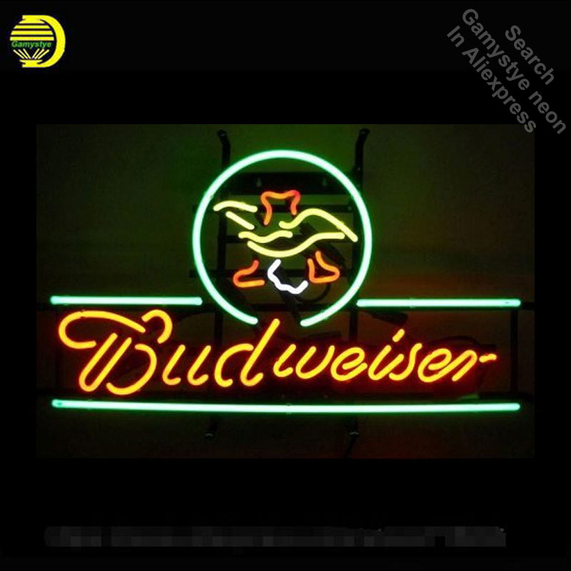 Neon Sign for 5BUDEA Budweise Eagle Neon Bulbs sign handcraft Glass tubes Decorate Beer Room light up signs made to order