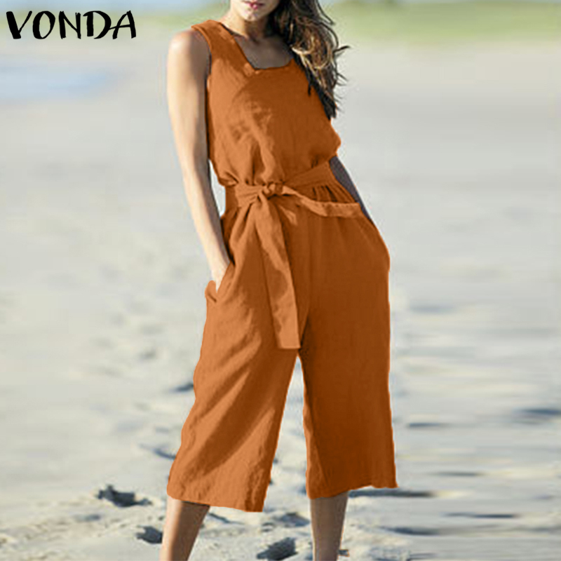 VONDA Rompers Womens Jumpsuit Summer Cotton Vintage Sleeveless Belt Wide Leg Pants Playsuit Casual LooseOveralls Plus Size