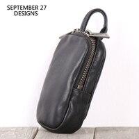 Key Wallets Genuine Leather Men Zipper Car Key Bag Keys Holder Key Case Large Capacity Housekeeper Holder Keychain Mini Wallet