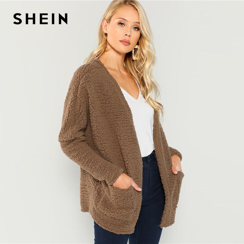 a03b8d7f35 SHEIN Brown Faux Fur Open Front Teddy Coat Casual Pocket V neck Long Sleeve  Outwear Women Plain Warm Winter Coats-in Wool & Blends from Women's Clothing  on ...
