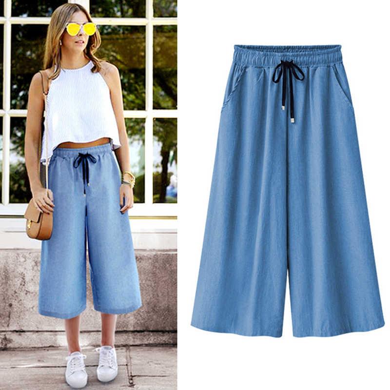 PLUS ขนาด M-5XL/6XL/7XL แฟชั่นสไตล์ฤดูร้อนใหม่ขนาดใหญ่ผู้หญิงกางเกงยีนส์ 2020 นักเรียนยืดหยุ่นเอว-ความยาวกางเกงยีนส์กางเกง Vestido