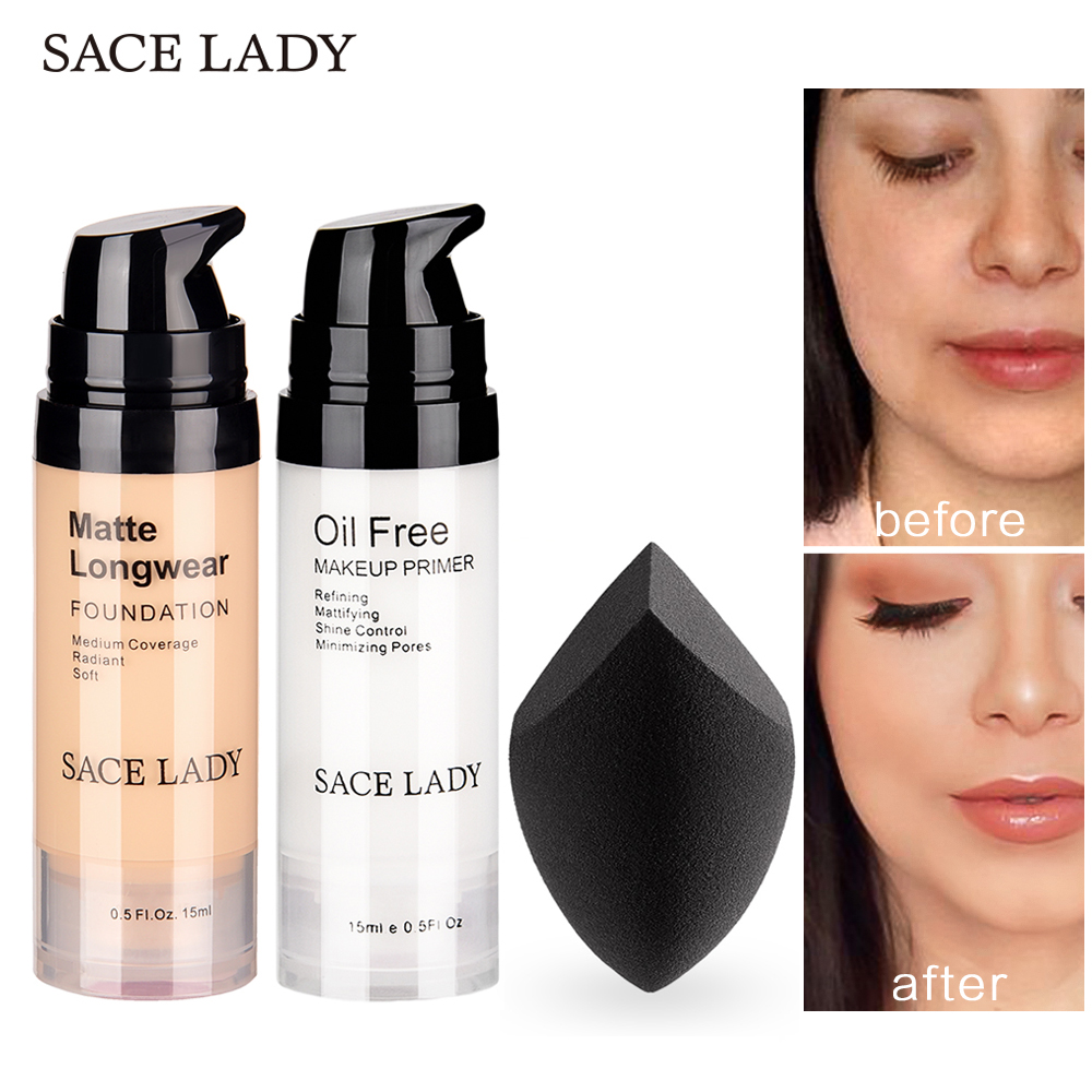SACE LADY Professional Makeup Set Matte Foundation Primer Base Make Up Kit Oil-control Pores Liquid Cream Brand Cosmetic PuffSACE LADY Professional Makeup Set Matte Foundation Primer Base Make Up Kit Oil-control Pores Liquid Cream Brand Cosmetic Puff