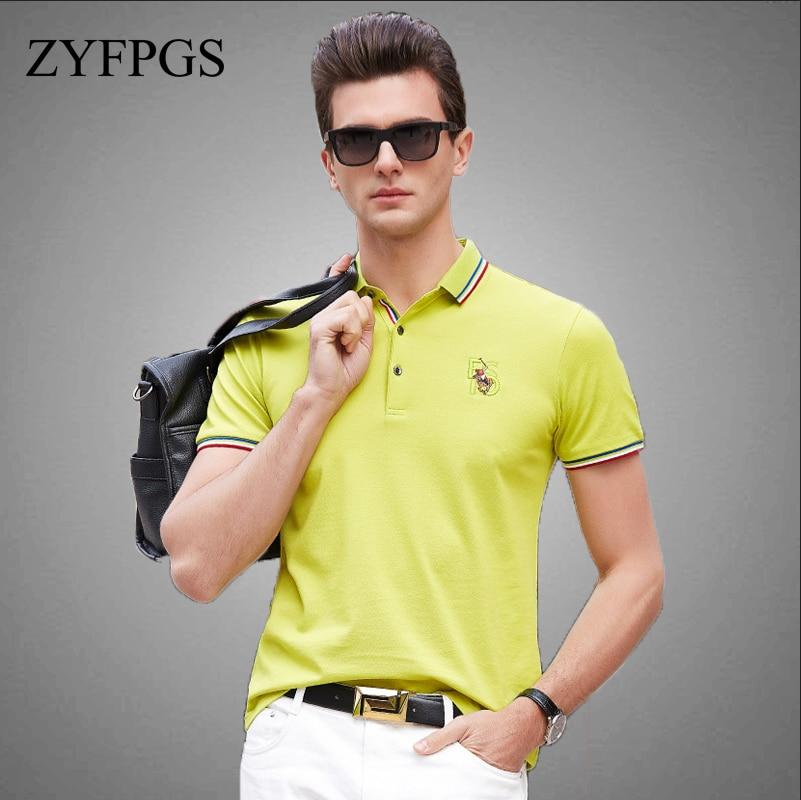 ZYFPGS 2018 Mens Polo Shirts Double Line Design Summer Leisure Fashion Men's Polo Short Sleeve Business Casual Breathable Z0611
