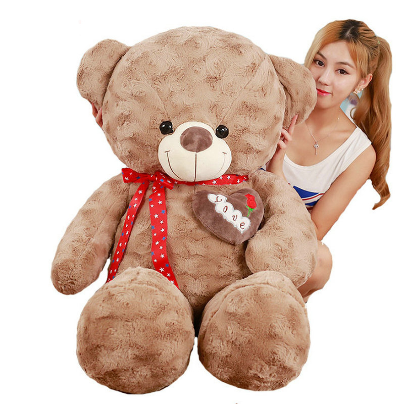 80/100cm Cute bear plush toys birthday gift for Children stuffed animals bear doll brown bear pillow cushion the lovely bow bear doll teddy bear hug bear plush toy doll birthday gift blue bear about 120cm