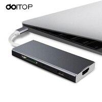 Doitop 7 в 1 USB-C HUB адаптер USB 3.1 Тип C 4 К HDMI USB-C PD USB 3.0 цифровой AV Multi-адаптер порта TF SD карты конвертер C4