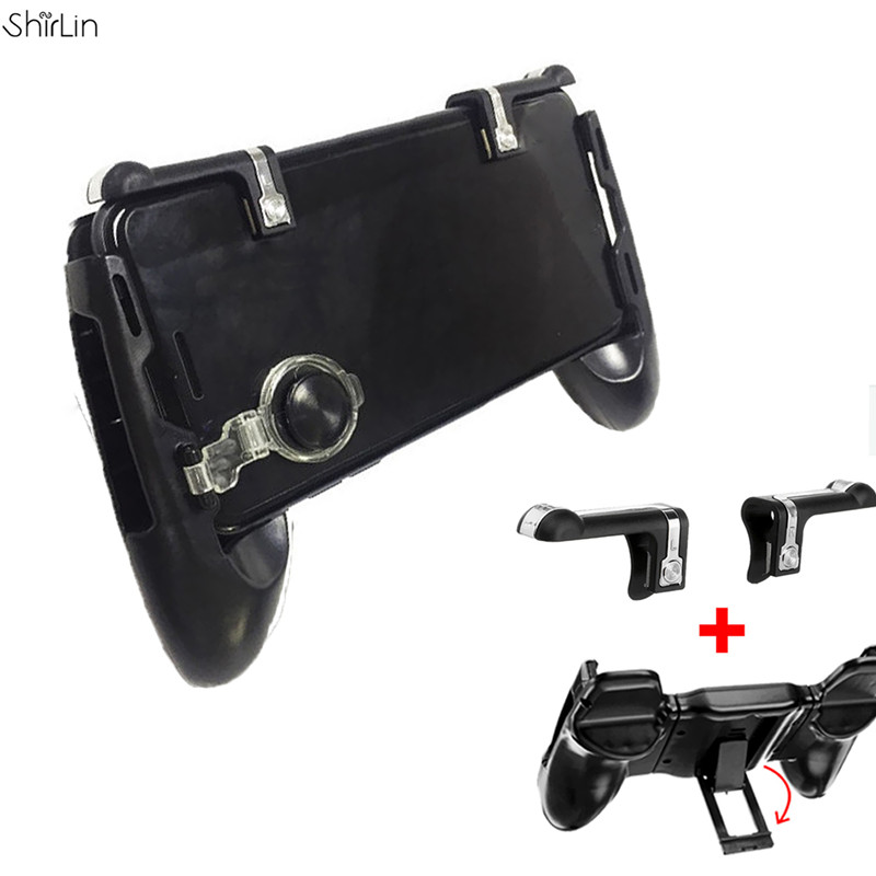 For PUBG for Fortnite Controller Mobile Phone Gaming Joystick Handle Bracket Holder + Fire Button Aim Key Shooter Gamepads