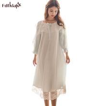 Fdfklak New Arrival Sleepwear Ladies Dresses Princess Long Sleeve Nighties Modal Lace Indoor Clothing Sweet Nightgown Women