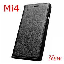 2016 New For Xiaomi Mi4 Real Genuine Leather Flip Luxury Natural Cow Skin Case Phone Cover For Xiaomi 4 M4 Free Shipping 4 Color