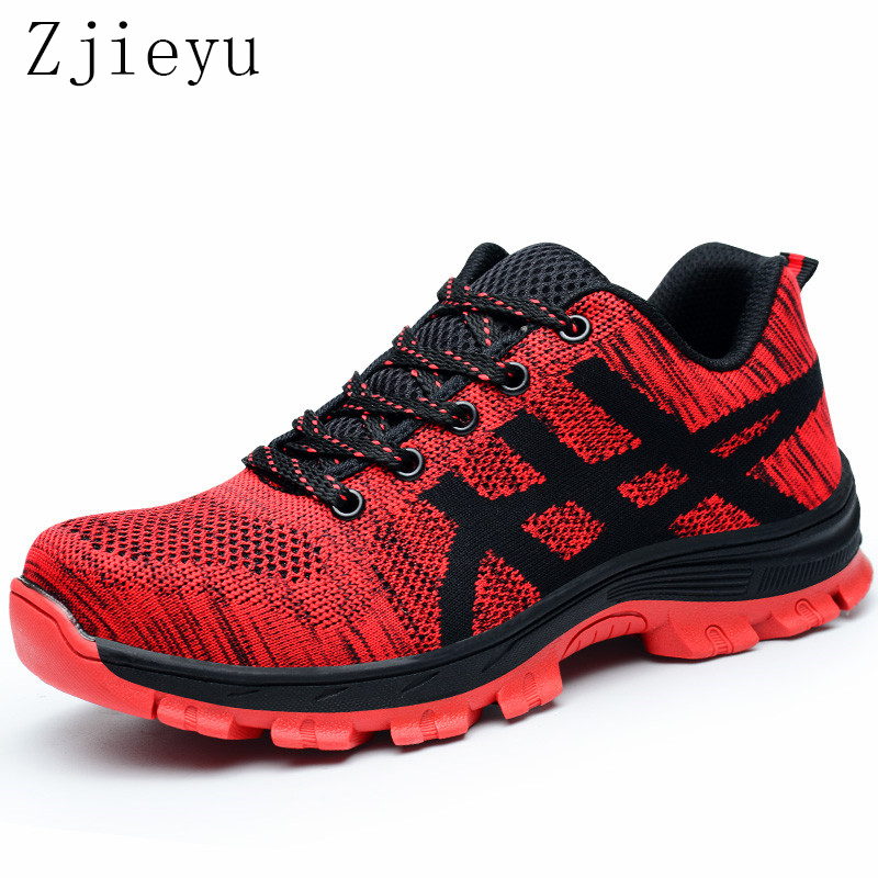 Fashion big size steel toe work boots safety shoes breathable summer anti-puncture tooling low boots protect footwear