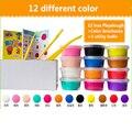 12 unids/set nuevo llegan 12 colores un conjunto diy maleable fimo polymer bloques de arcilla papel de arcilla plastilina plastilina modelado suave arcilla
