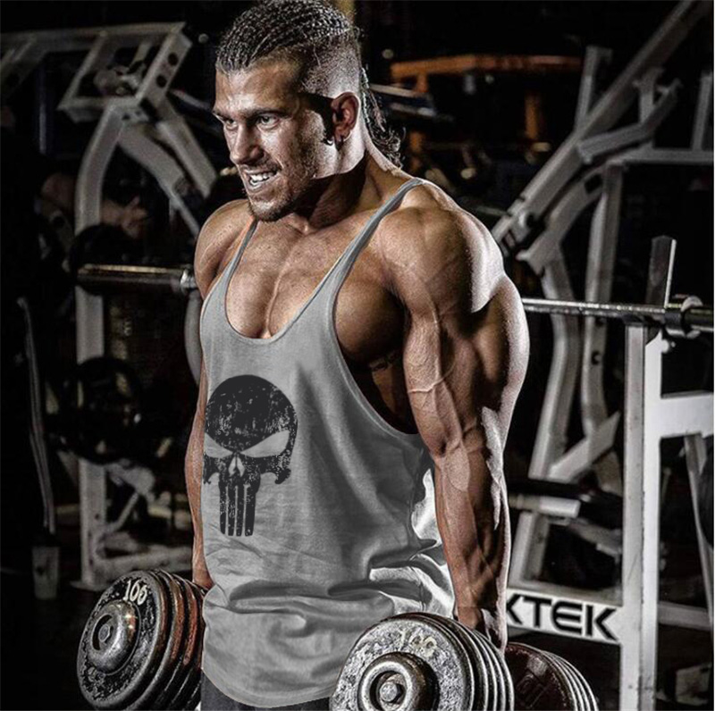 Skull Bodybuilding Stringer   Tank     Top   Mens Gyms Stringer Shirt Fitness Clothing Cotton Y Back Workout Muscle Vest   Tops