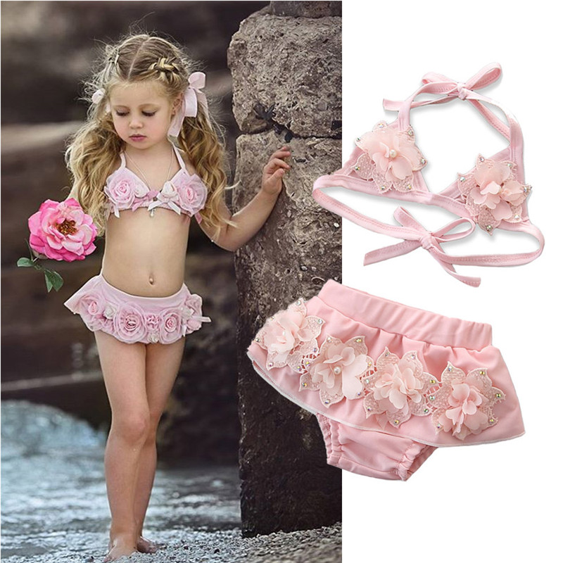 2019 Summer Baby Girls Swimsuits Pink Floral Two Piece Swimwear For Girl Imitation Pearls Bikini Set Children Swimming Suit Kids