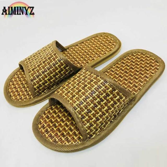 545cb0d2cc9d Natural Bamboo Rattan Summer Comfort Slippers Cane Grass Weaving Couples Women  Sandals Ladies Plat Beach Shoes Flip flops
