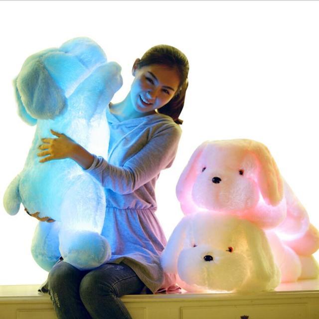 Nueva Gran Tamaño 80 cm Largo Luz Creativa de La Noche LLEVÓ Preciosa perro de Peluche de Felpa Juguetes Mejores Regalos para Los Amigos de Los Niños Juguetes Brinquedo