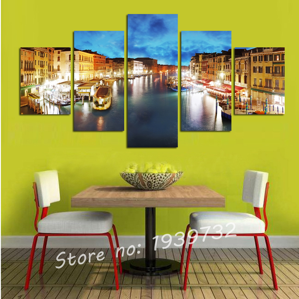 5 Panel Venice city canvas painting buildings scenery wall printing ...