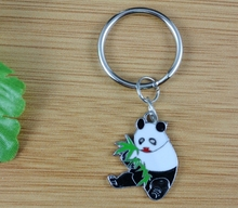Hot Sale Vintage Silver Enamel Panda Eating Bamboo Leaves Charm Keychain Ring For Keys Car Souvenir Gifts Couple Key Ring  Z172