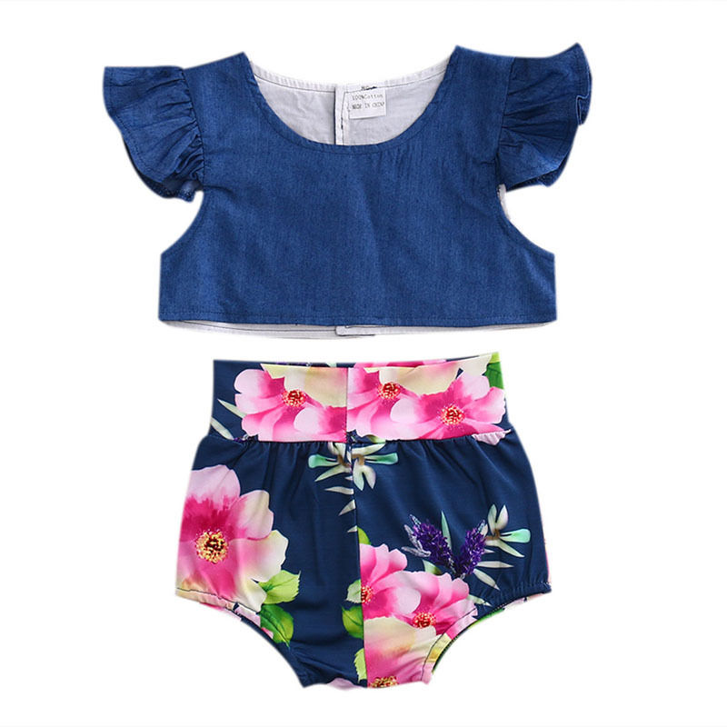 2017 Summer Cute Toddler Baby Girls Clothes Set Ruffled Sleeve Denim Tops Tanks+High Waist Floral Bloomer Shorts 2PCS Outfits 3pcs outfit infantil girls clothes toddler baby girl plaid ruffled tops kids girls denim shorts cute headband summer outfits set