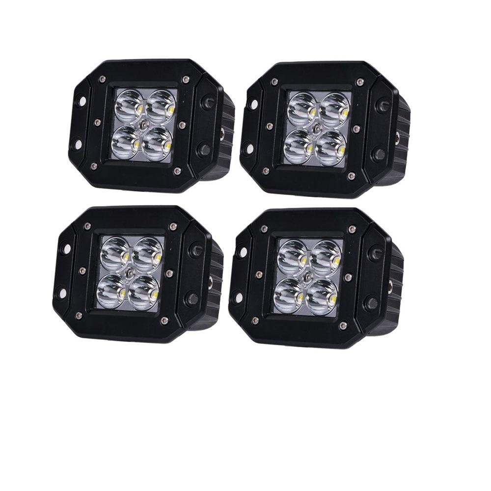 honzdda 4pcs flush mount led light 12v white amber led fog light 9