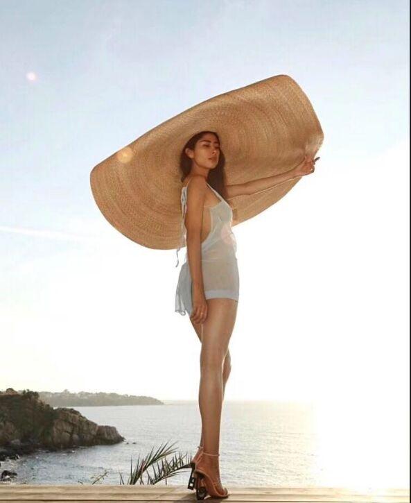 Pré-vente, environ 1.1 m, plus de 1 m fait main paille très grand 45cm bord de mariage chapeau de soleil femmes loisirs chapeau prendre photo