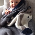 Новый зима детьми кролик лиса дважды животных одеяла тяжелые хлопок вязать одеяло питомник одеяло