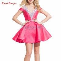 Beaded Satin Short Homecoming Dress Sweet Girls V neck V back Zipper Pink Graduation Dresses Junior Short Prom Dress