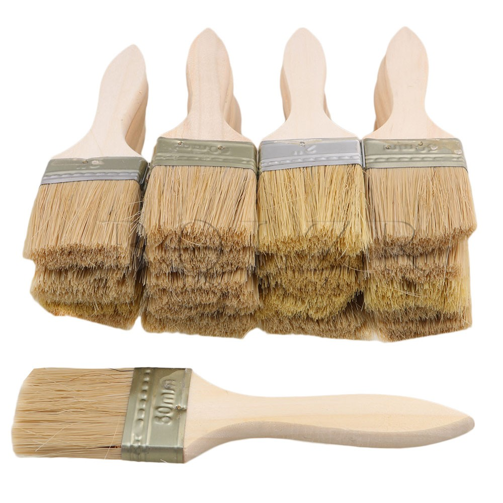 BQLZR 20PCS 17.5x4.5CM Stain Varnish Chip Brush Tool With Thin Wood Handle
