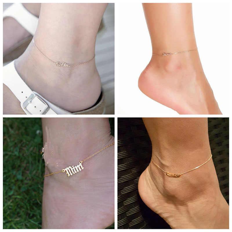 Персонализированные пользовательские имя женщин ножной браслет бижутерия для ног из нержавеющей стали ручной работы буквы ножные браслеты с цепочкой подарок на день рождения