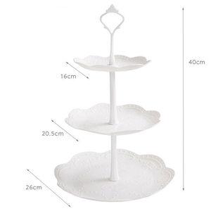 Image 4 - Soporte de pastel de 3 niveles de alta calidad, decoración para bandejas de Magdalena redonda, fiesta de cumpleaños de boda, soporte de pastel de té por la tarde