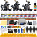 Solong Tattoo Complete Tattoo Kits 3 Pro Handmade Coil Machine Guns Power Supply Foot Pedal Grip Tip Ink Set TKC01