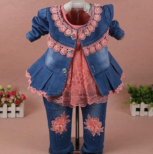 new 2017 spring girls flower denim jacket+t shirt+pant clothing sets 3pcs kids clothes sets girls autumn casual suit kids jeans