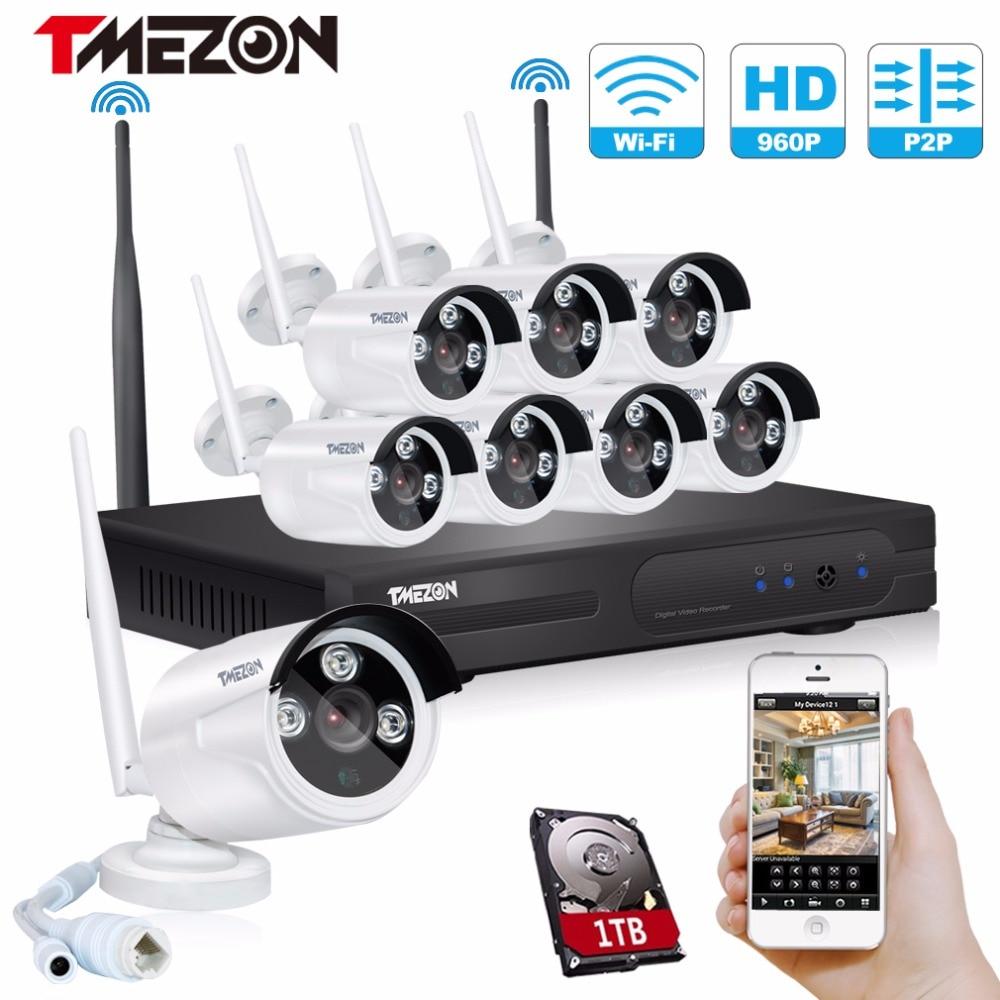 Tmezon HD 8CH Wireless WIFI Security Surveillance NVR System 8Pcs 960P 1.3MP Camera ONVIF IR Night Vision Waterproof 1TB 2TB Kit