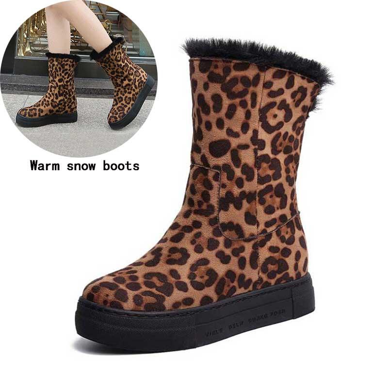 Qualité supérieure hiver neige bottes femme mi-mollet bottes femme mode léopard chaud chaussures Chaussure femme Botas chaussures 2018