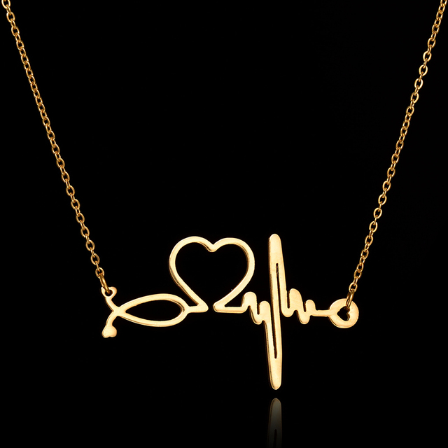 fd04aebfd New Fashion Chain Pendants Necklaces For Women Stainless Steel Silver Gold  Stethoscope Pendant Heart ECG Heartbeat Necklace