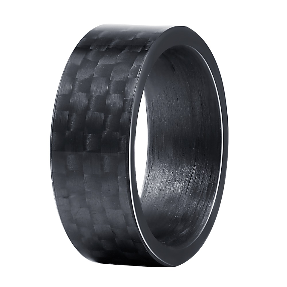 Black Pure Carbon Fiber Rings Men Women Unique Punk Wedding Engagement Band Size 7 to 13