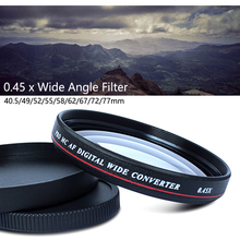 лучшая цена 0.45x Professional Wide Angle Conversion Lens 49/52/55/58/62/67/72/77mm Filter Lens Kit for Nikon Canon Pentax Sony Camera