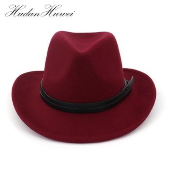 Sombrero de vaquero de fieltro de lana de ala ancha para hombre . 6718a376209