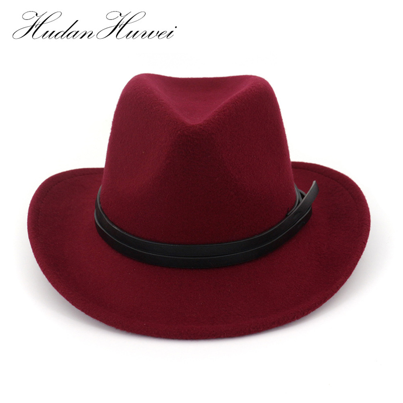 Wide Brim Plain Wool Felt Cowboy Hat Mens Womens Fedora Hat with Leather Decoration Cowgirl Hat Jazz Trilby Chapeau for Unisex