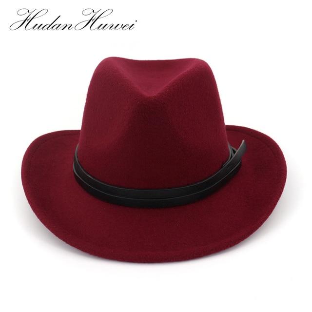 Wide Brim Plain Wool Felt Cowboy Hat Mens Womens Fedora Hat with Leather Decoration  Cowgirl Hat Jazz Trilby Chapeau for Unisex 6dd0323635e