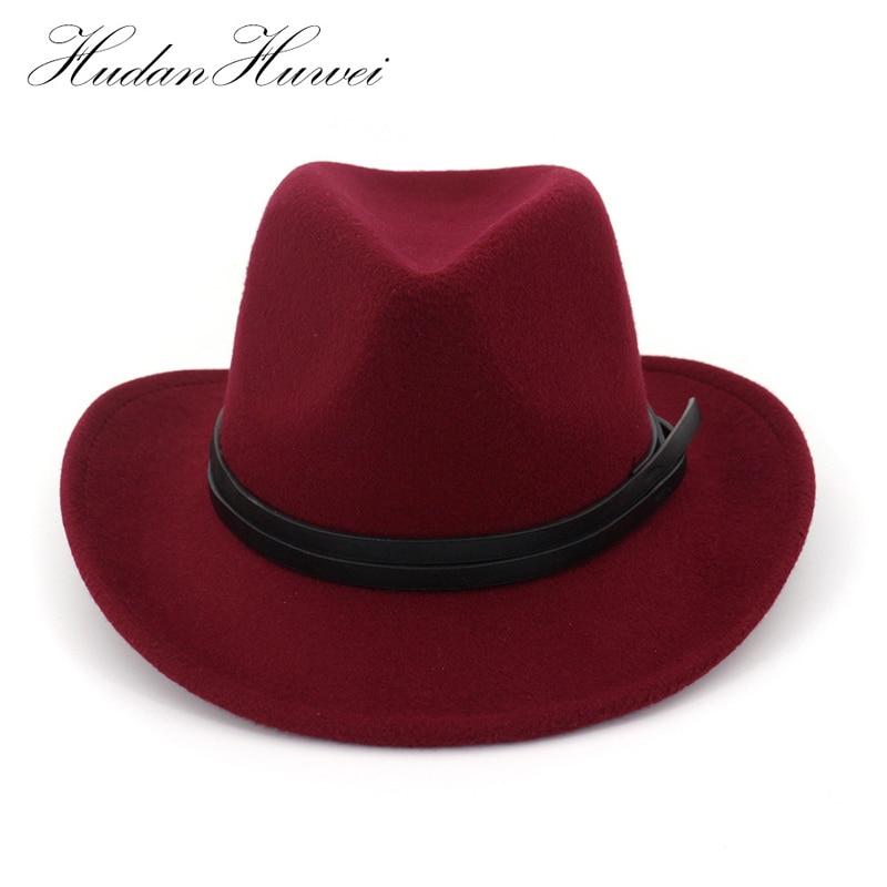 96947797574cf Wide Brim Plain Wool Felt Cowboy Hat Mens Womens Fedora Hat with Leather  Decoration Cowgirl Hat Jazz Trilby Chapeau for Unisex