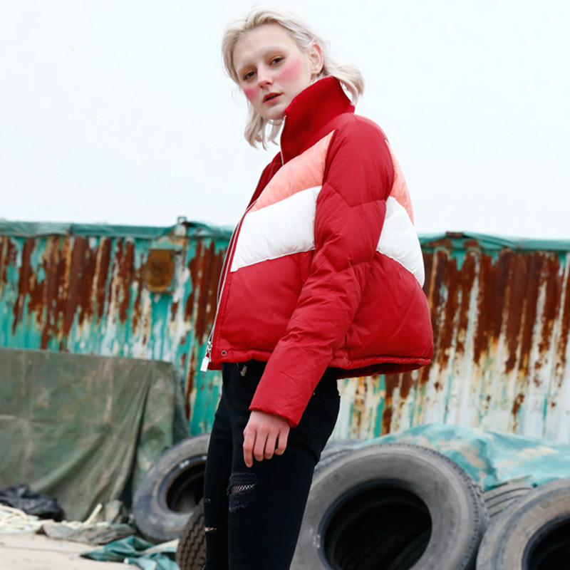 2019 Yp073 Red Pain Survêtement Rayé Rouge Manteau Lâche Veste Moteur D'hiver Nouvelles Et Outwear Collette Personnalité Blanc Femmes Stand xsQrCBthd