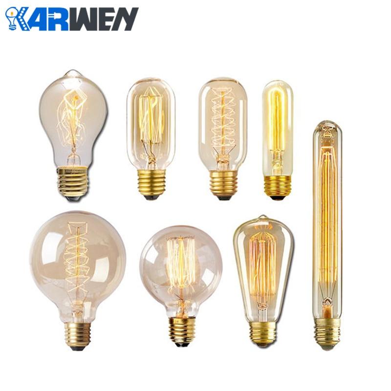 KARWEN Vintage Edison Bulb G80 G95 ST64 220V 40W Incandescent Bulbs E27 Filament Retro Edison Light For Pendant Lamp Decoration