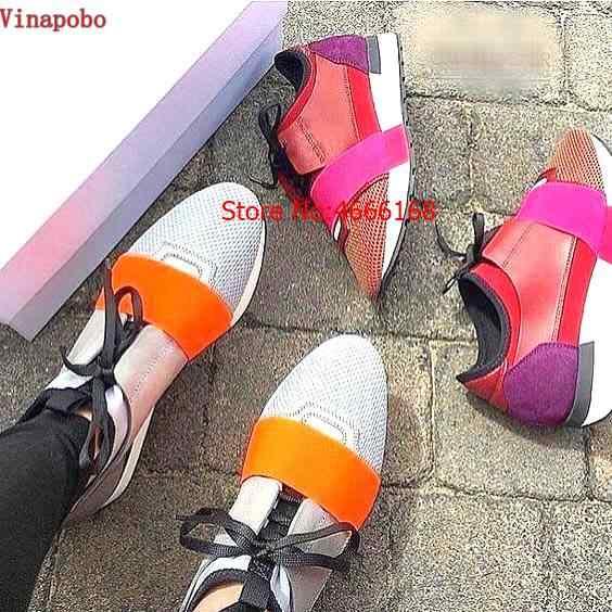 2019 Luxe Merk Populaire Runner Mesh Schoenen Lace-up Patchwork Gemengde Kleuren Lage top Fashion Paar Mannen Vrouwen Casual wandelschoenen