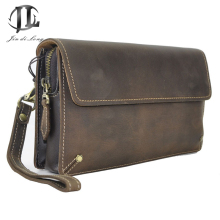 Stylish Trend Oil Waxed Genuine Leather Mens' Vintage Clutch Purse Men Business Clutch Hand Bag Cowhide Wallet